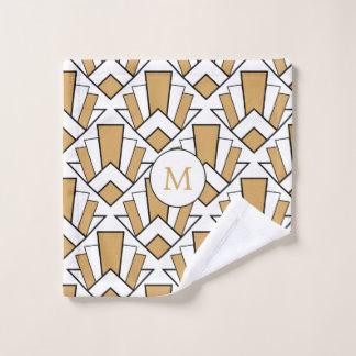 Monogram Gold, Black, White Art Deco Fan Flowers Bath Towel Set