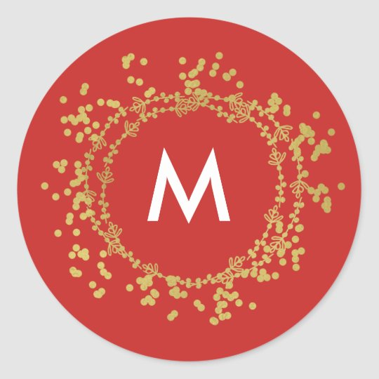 Monogram Gold Decorative Christmas Tree Red Classic Round Sticker