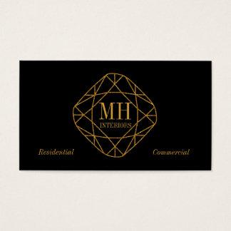 Monogram Gold Diamond Business Cards