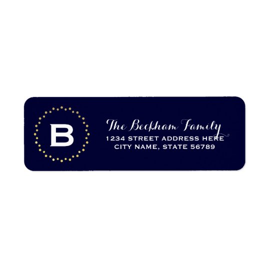Monogram Gold Dots Return Address Label / Navy