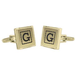 Monogram Gold Finish Cufflinks