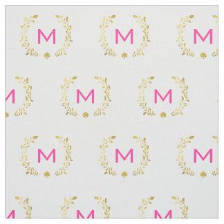 Monogram Gold Foil Laurel & Spade Fabric
