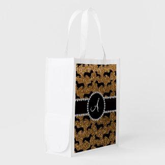 Monogram gold glitter dachshund