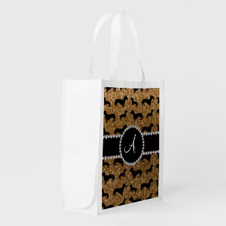 Monogram gold glitter dachshund reusable grocery bag
