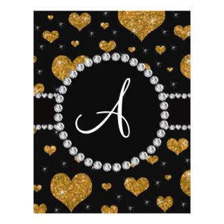 Monogram gold glitter hearts black diamond circle flyer