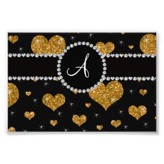 Monogram gold glitter hearts black diamond circle photo art