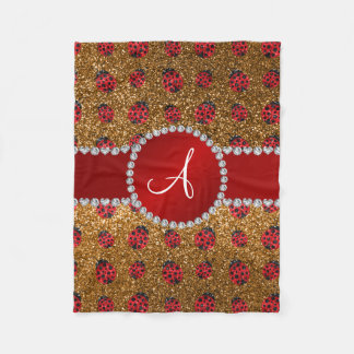 Monogram gold glitter ladybugs fleece blanket