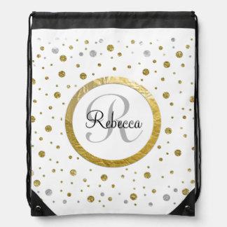 Monogram Gold Leaf Print Silver Confetti Drawstring Backpack
