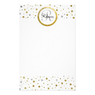 Monogram Gold Leaf Print Silver Confetti Personalized Stationery