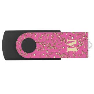 Monogram Gold Music Notes Pink USB Flash Drive
