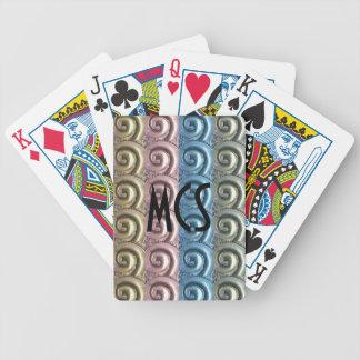 Monogram Gold Silver Blue Pink Metallic Bicycle Playing Cards