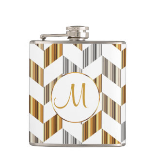 Monogram - Gold, Silver & White Chevron Design Hip Flask