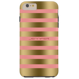 Monogram Gold Stripes On Pink Tough iPhone 6 Plus Case