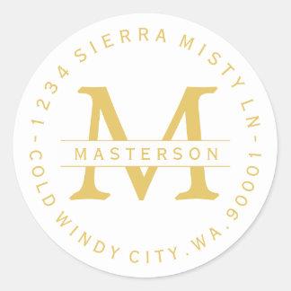 Monogram Gold Text Circular Return Address Label Round Sticker