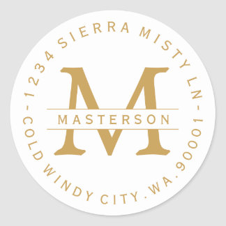 Monogram Gold Text Circular Return Address Label Round Sticker