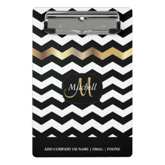 Monogram Gold, White & Black Chevron Stripes