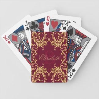 Monogram Golden Damask on Dark Red Bicycle Playing Cards