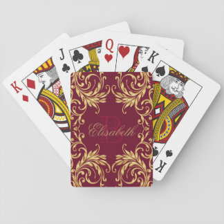Monogram Golden Damask on Dark Red Playing Cards