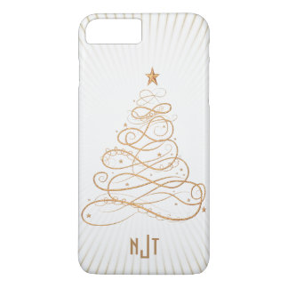 Monogram  Golden Filigree Christmas Tree iPhone 8 Plus/7 Plus Case