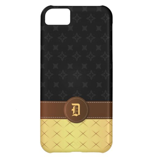 Monogram Golden Luxury with Stitched Leather   iPhone 5C Cover
