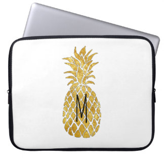 monogram golden pineapple laptop computer sleeve