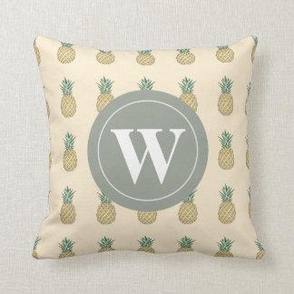 Monogram Golden Pineapple Throw Pillow
