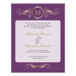 Monogram Golden Swirls Elegant Purple Wedding 2