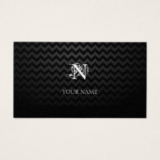 Monogram Golden with Chevron Pattern Business Card