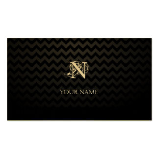 Monogram Golden with Chevron Pattern Pack Of Standard Business Cards