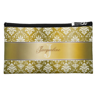 Monogram Golden Yellow and White Damask Cosmetic Bag