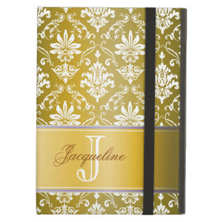 Monogram Golden Yellow and White Damask iPad Air Covers