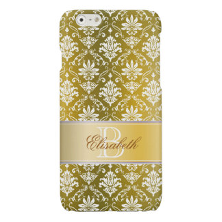 Monogram Golden Yellow and White Damask iPhone 6 Plus Case