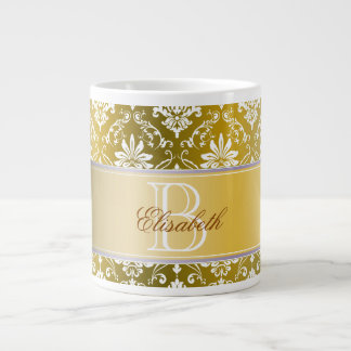 Monogram Golden Yellow and White Damask Large Coffee Mug