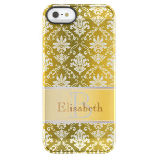 Monogram Golden Yellow and White Damask Permafrost® iPhone SE/5/5s Case
