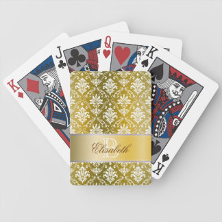 Monogram Golden/Yellow Damask Bicycle Playing Cards