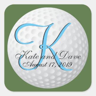 Monogram Golf 3d Wedding Favor Square Sticker