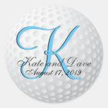 Monogram Golf 3d Wedding Favour Round Sticker