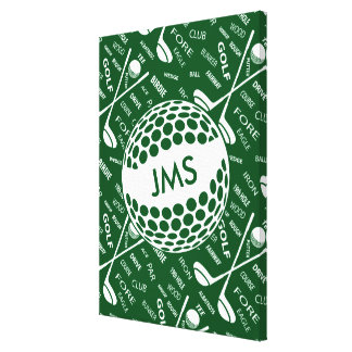 Monogram Golfer Golfing design Gallery Wrap Canvas