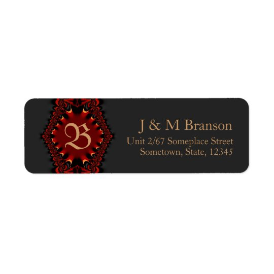 Monogram Gothic Satin Red + Black Address Label