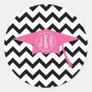 Monogram Graduation Cap Pink + Black Chevron Round Sticker