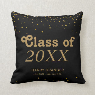 Monogram Graduation Keepsake | Black Gold Dots Cushion