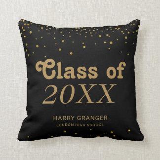 Monogram Graduation Keepsake | Black Gold Dots Throw Pillow