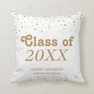 Monogram Graduation Keepsake | Gold Confetti Dots Cushion