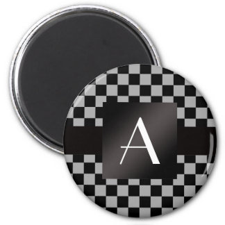 Monogram gray and black checkers magnet