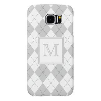 Monogram Gray and White Argyle Samsung Galaxy S6 Cases