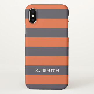 Monogram. Gray-ish  and Orange-y Stripes. iPhone X Case