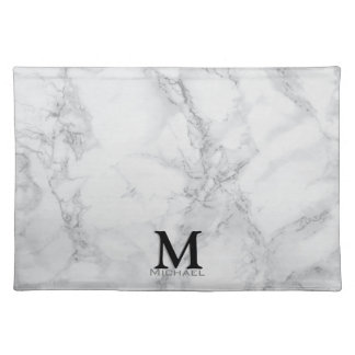 Monogram Gray Marble Design Placemat