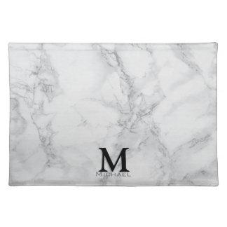 Monogram Gray Marble Design Placemats