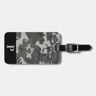 Monogram Gray Military Camo Camouflage Black Frame Luggage Tag