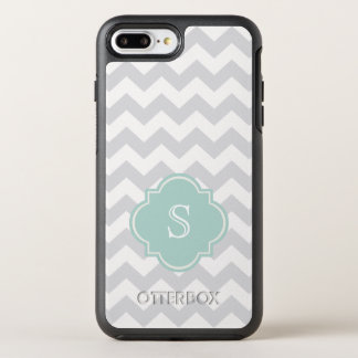 Monogram Gray Mint Green Chevron Pattern OtterBox Symmetry iPhone 7 Plus Case